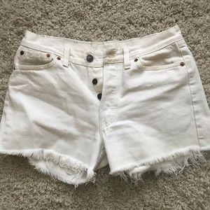 Vintage Levi white denim shorts